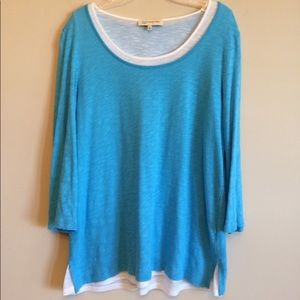 Jones New York Double Layered Blue Top